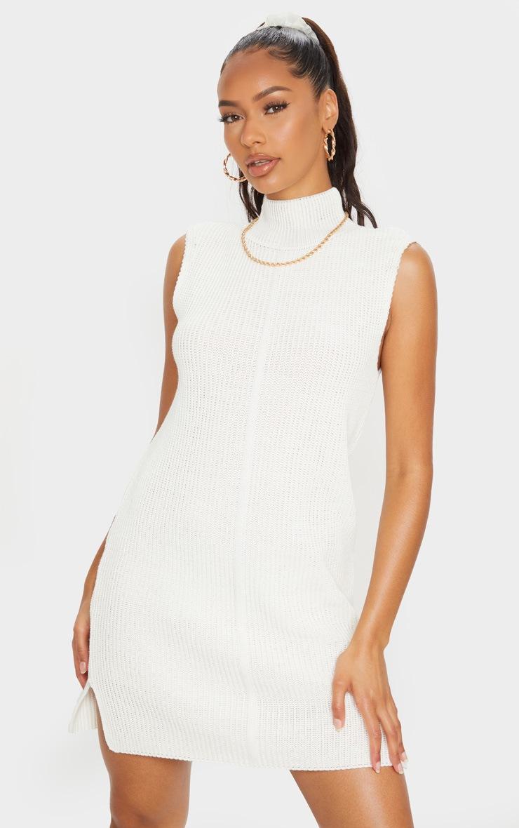 Cream Turtle Neck Side Split Jumper Dress 3