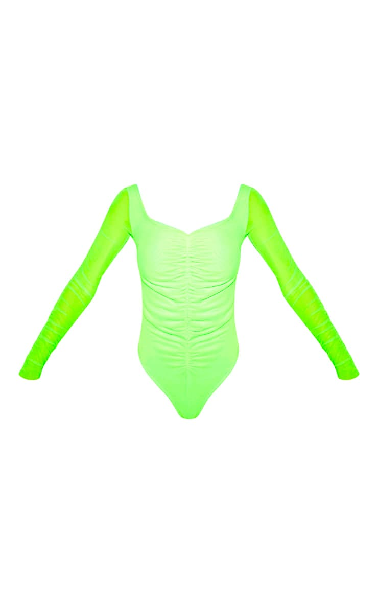 Neon Lime Mesh Ruched Detail Long Sleeve Bodysuit 3