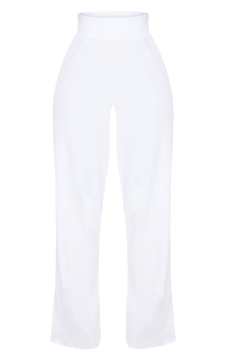 Shape White Ribbed Wide Leg Trousers 3