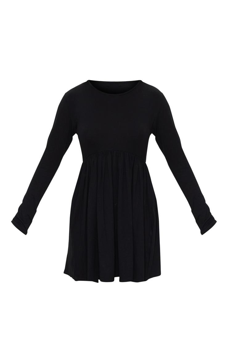 Petite Black Long Sleeve Smock Dress 5