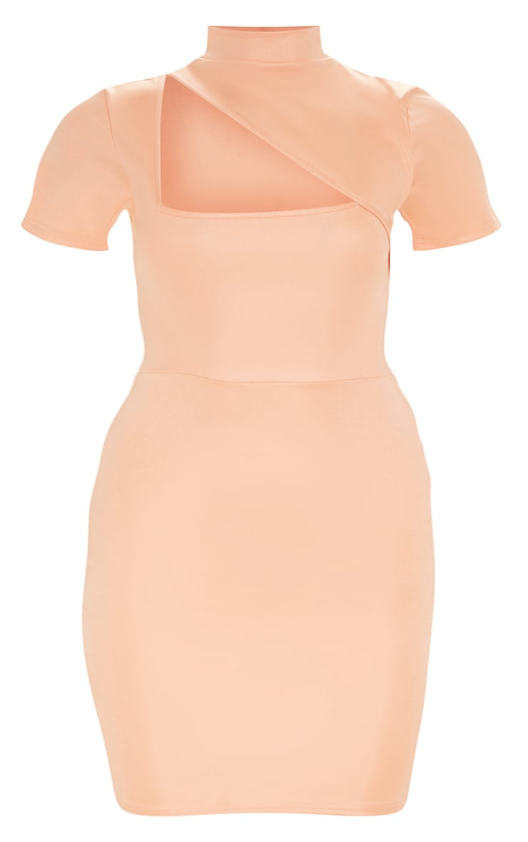 Plus Peach Second Skin High Neck Cut Out Bodycon Dress 3