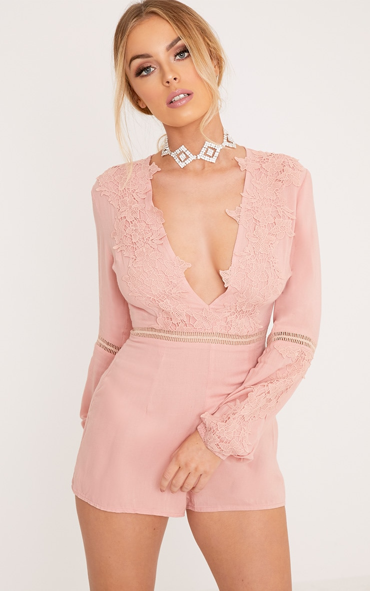 Lauren Pink Cheesecloth Playsuit 1