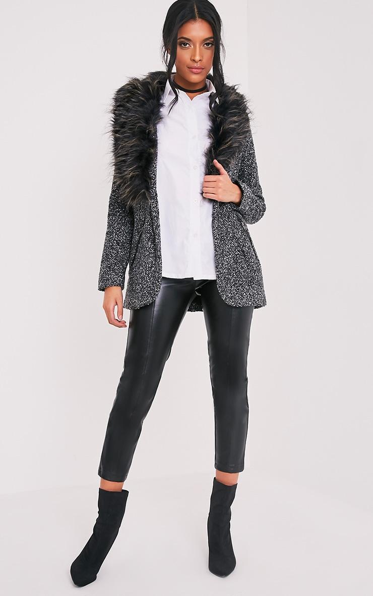 Jenifa manteau boucle gris avec col en fausse fourrure 5