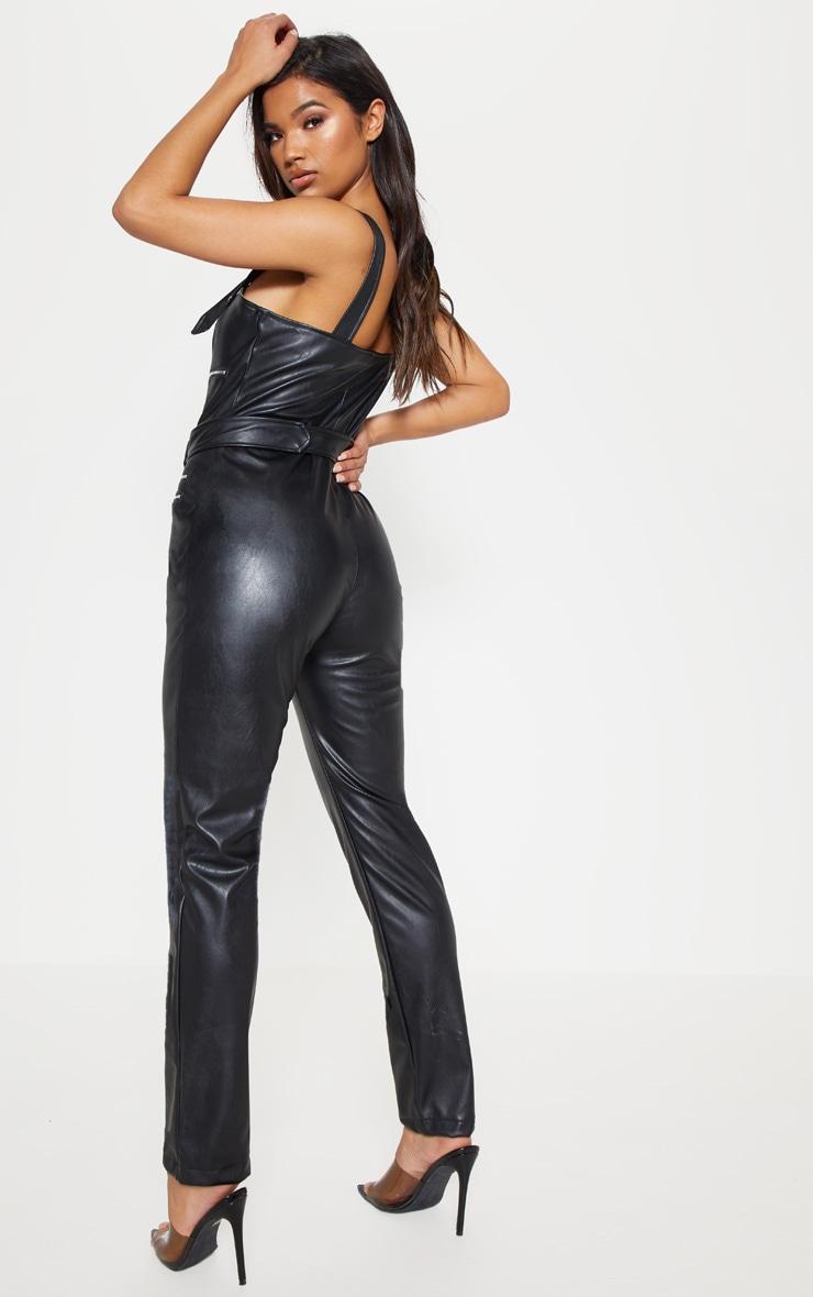 Black Biker Belted Catsuit 3