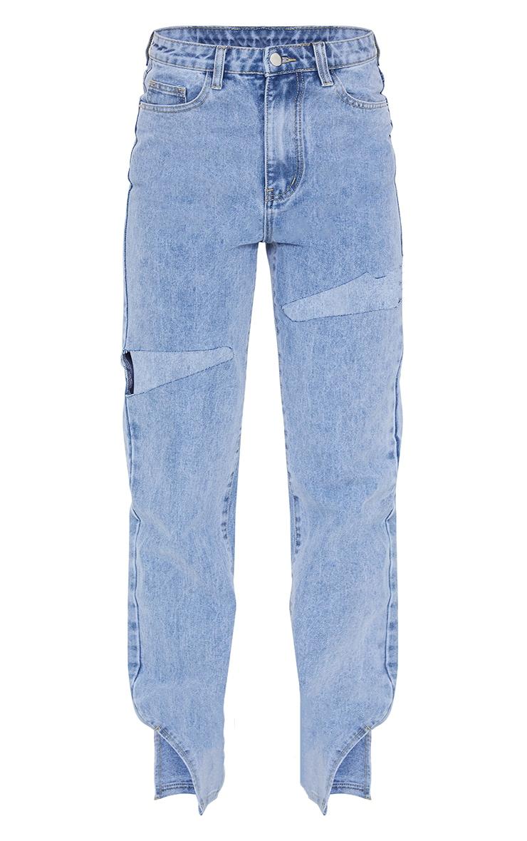 Light Blue Wash Thigh Rip Ripped Split hem Jeans 5