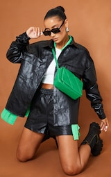 Black Faux Leather Runner Pocket Front  Shorts 1