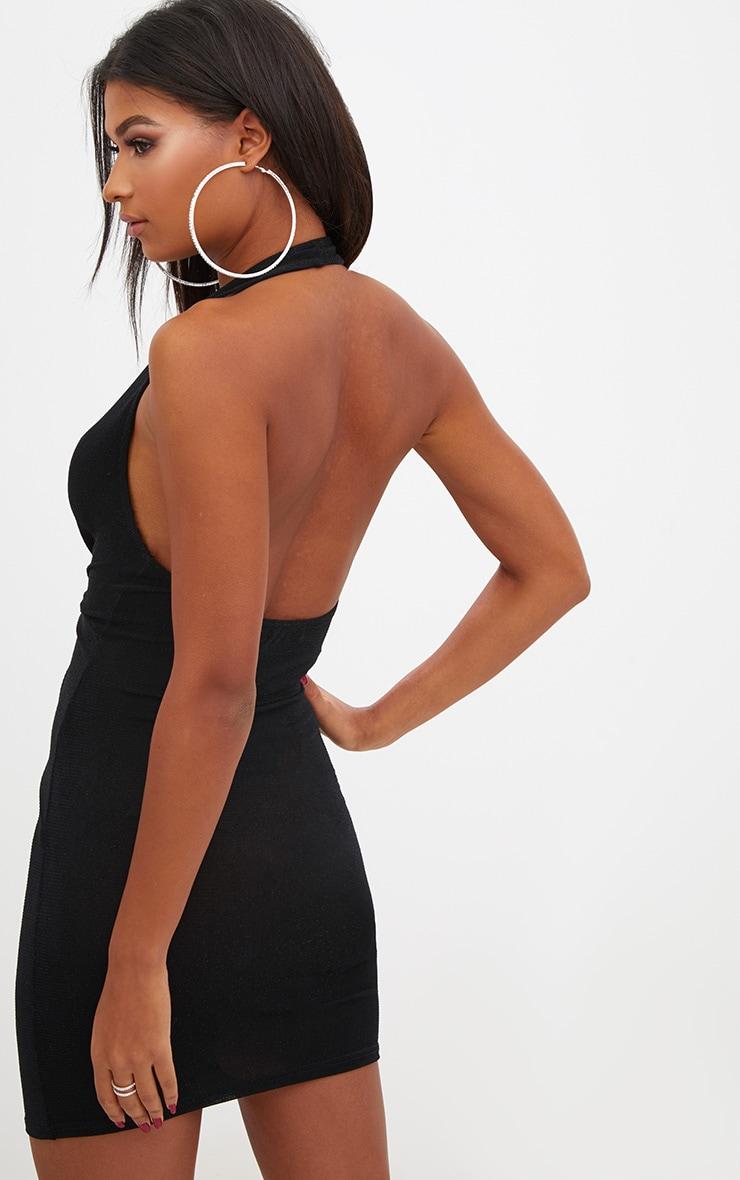 Black Halterneck Lurex Knot Front Bodycon Dress 2