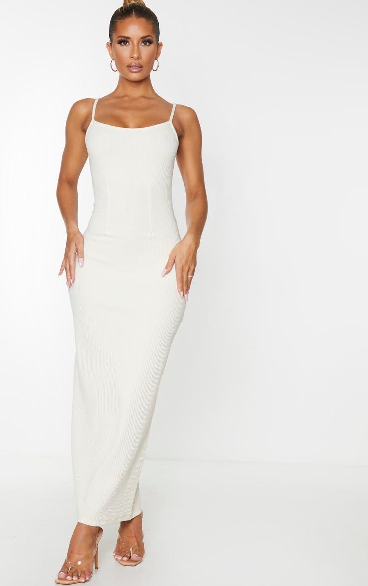 Stone Thick Rib Cinched Waist Midi Dress 1