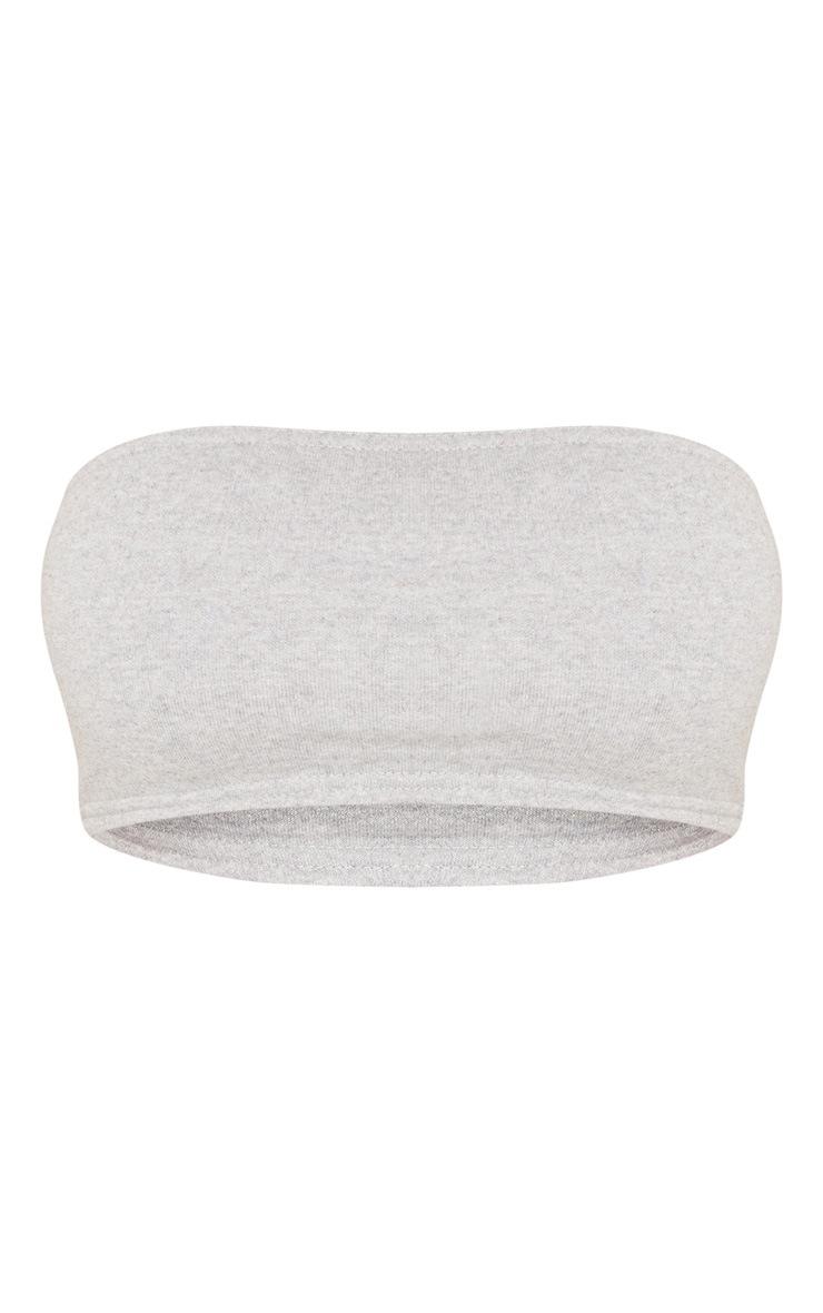 Shape Grey Marl Sweat Bandeau Crop Top 3