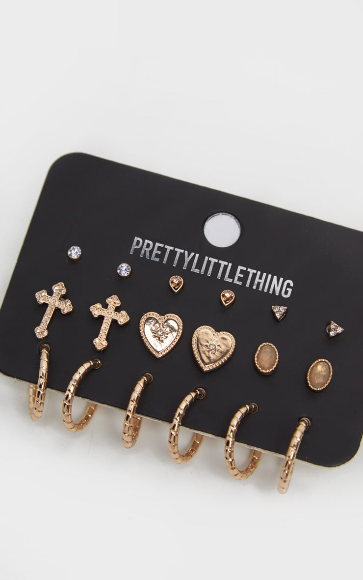 Gold Small Hoop Earring Three Pack by Prettylittlething