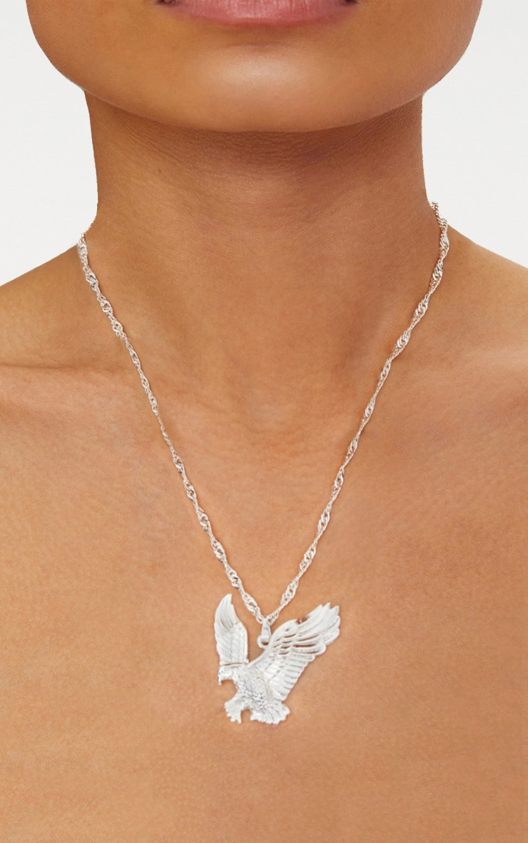 Silver Eagle Pendant Necklace
