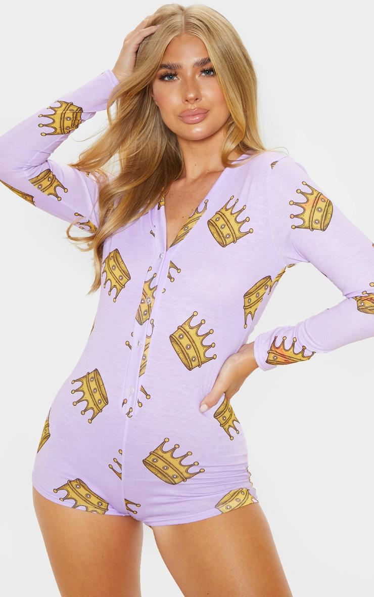 Lilac Queen Printed PJ Romper 2