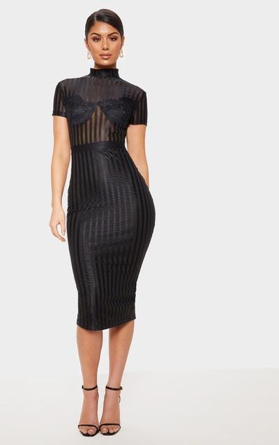 Black High Neck Lace Lined Midi Dress