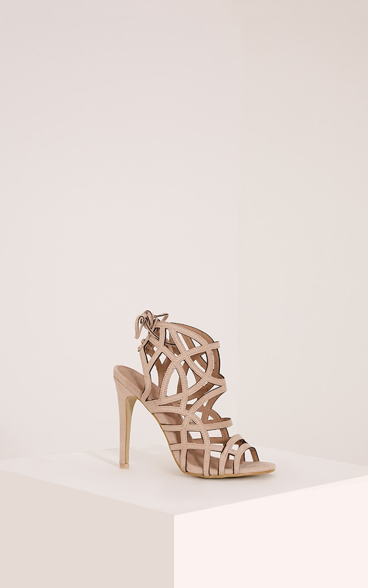 Salina Cream Faux Suede Cut Out Heeled Sandals 3