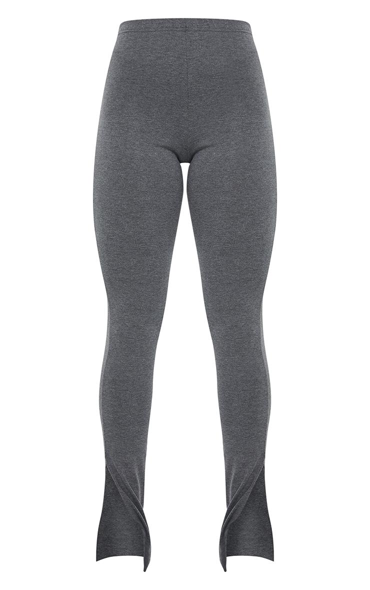 Basic Charcoal Jersey Split Hem Leggings 5
