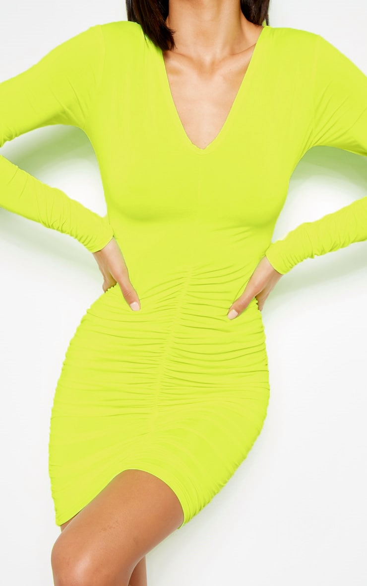 820254089ce0d Lime Slinky Long Sleeve Ruched Front Bodycon Dress - New In Clothing ...