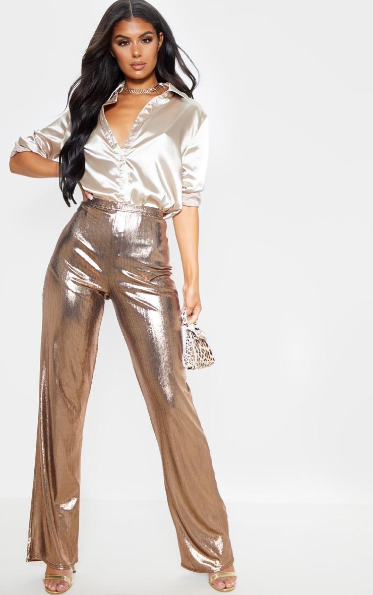 Bronze Metallic Straight Leg Pants 1
