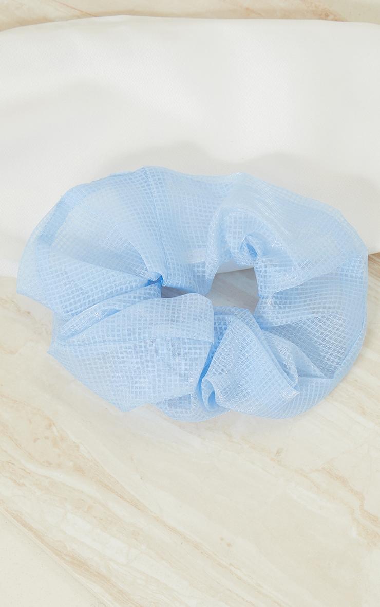 Baby Blue Check Mesh Scrunchie 2
