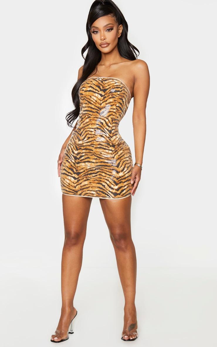 Shape Brown Tiger Print Bandeau Sequin Bodycon Dress 1