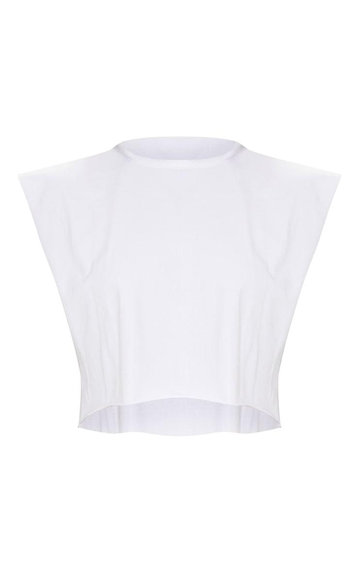 White Cotton Drop Armhole Crop Vest 5