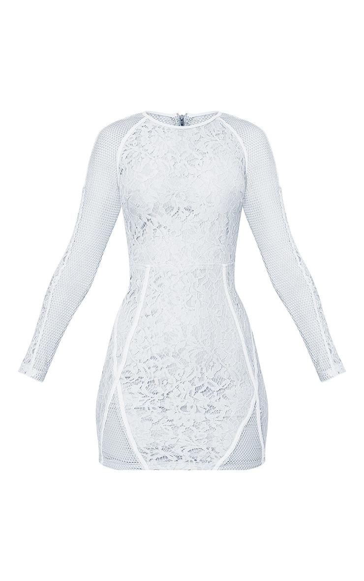 Ida Grey Lace Fishnet Panel Bodycon Dress 3