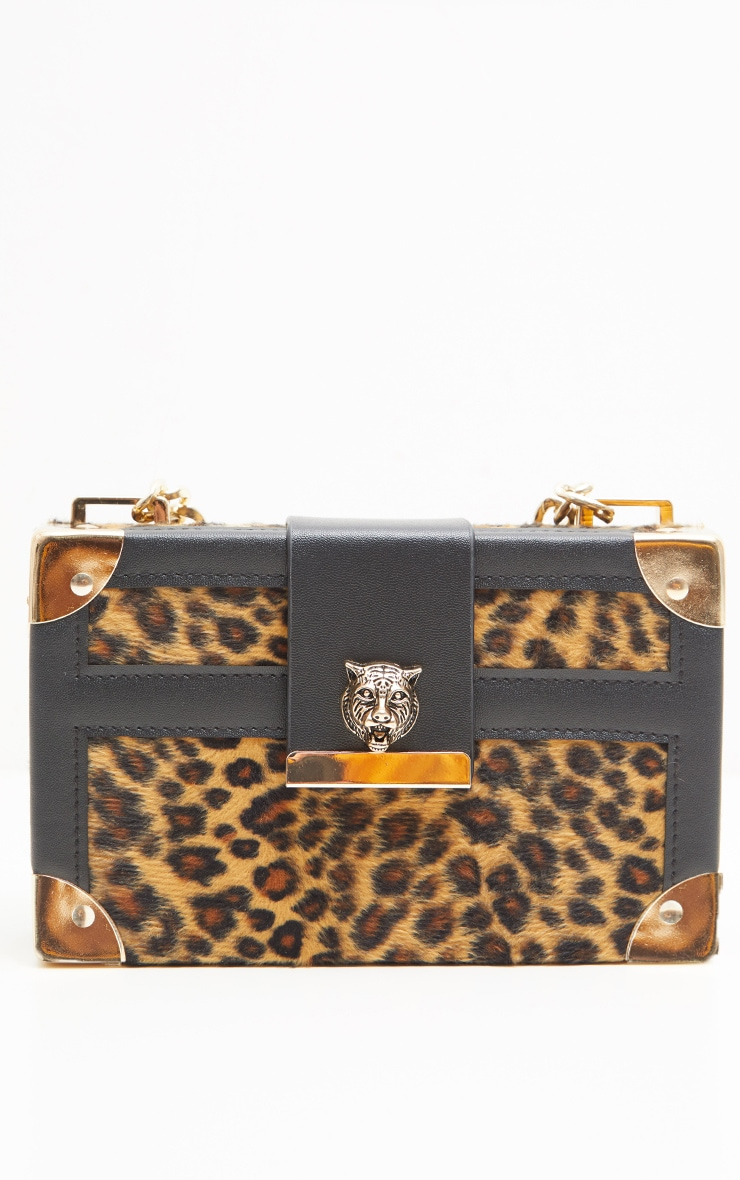 Gold Leopard Hard Satchel  With Panther Studs Cross Body Bag 4