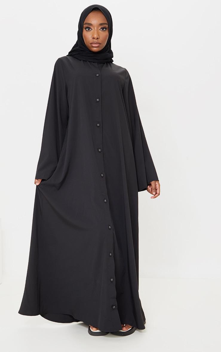Black Woven Oversized Button Down Maxi Shirt Dress image 1