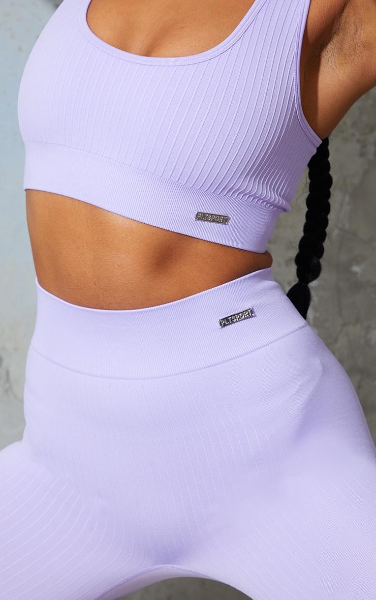 Lilac Seamless Rib High Waisted Gym Leggings 4