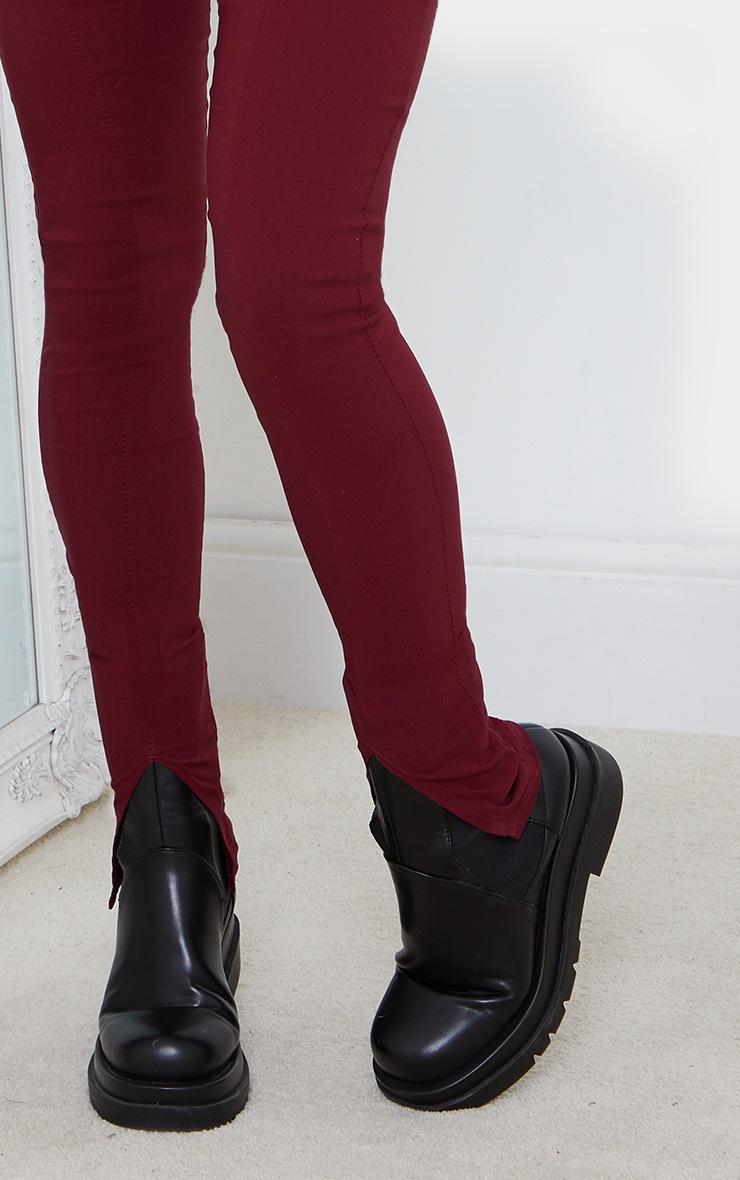 Wine Stretch Split Hem Skinny Trousers 4