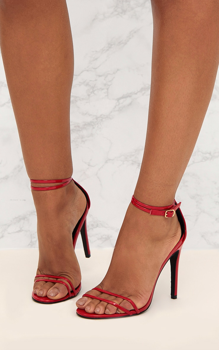 Red Patent Double Strap Heeled Sandals 2