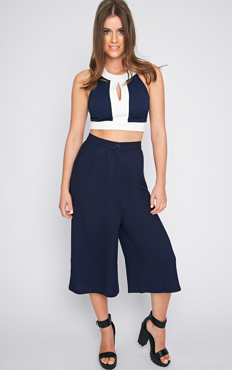 Perrie Navy Cut Out Crop Top  3