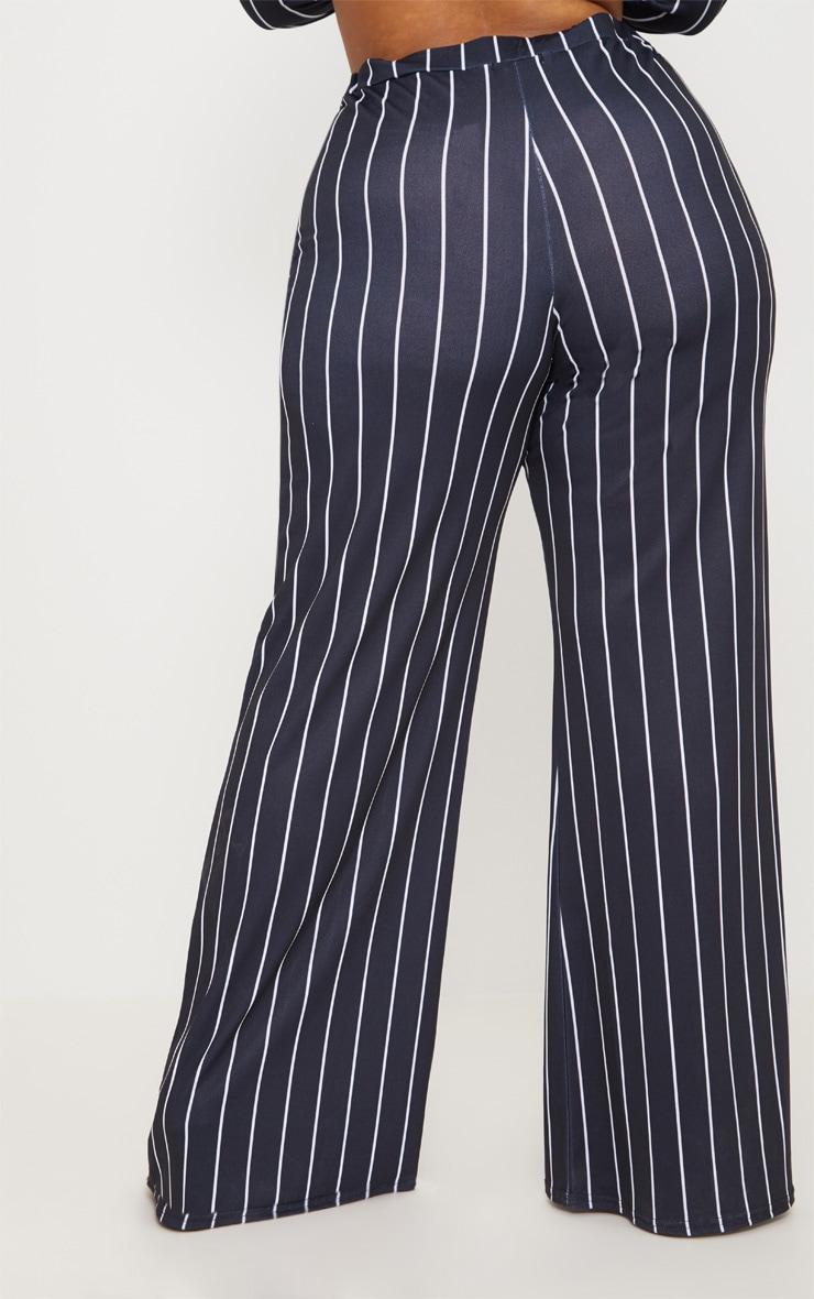 Plus Black Stripe Wide Leg Trousers  4