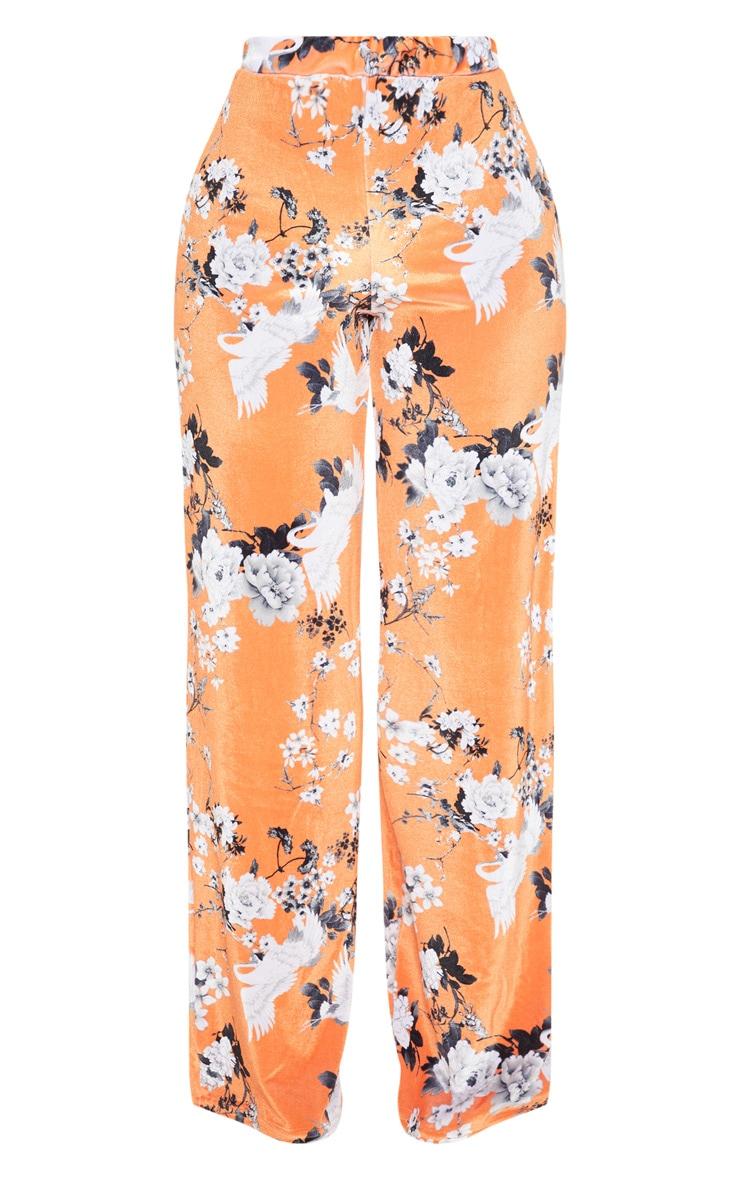Shape Orange Velvet Floral Wide Leg Trousers 3