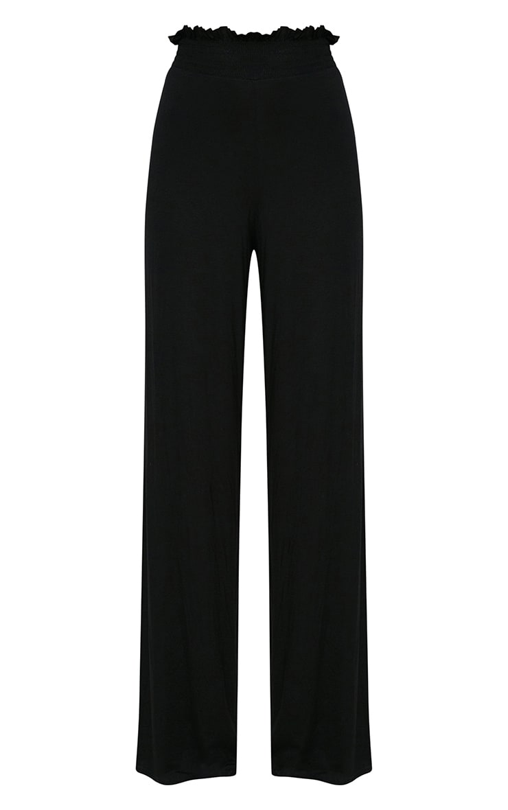 Black Shirred Waist Wide Leg Trousers 3
