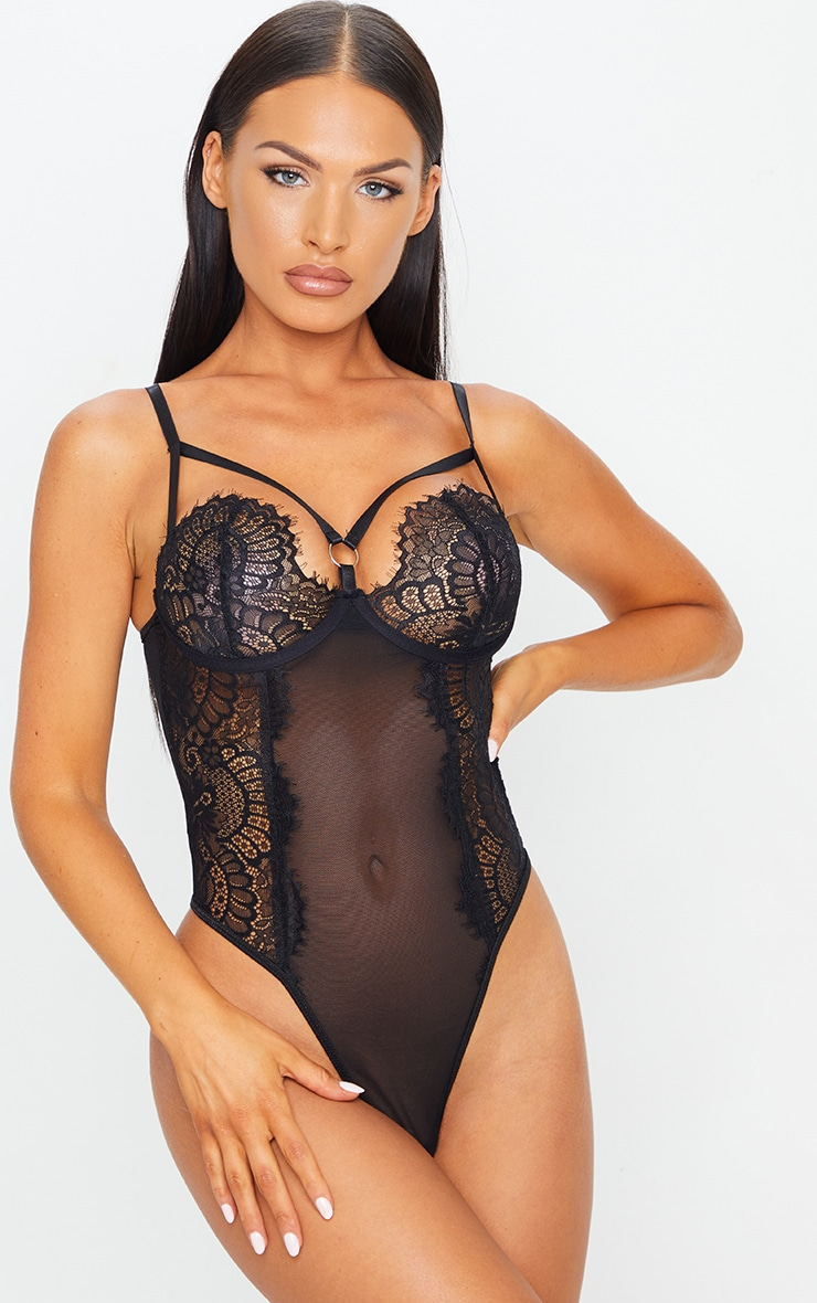 Black Ring Detail Lace Underwired Body 1