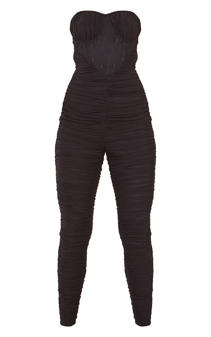 Black Corset Detail Mesh Ruched Bandeau Jumpsuit 5