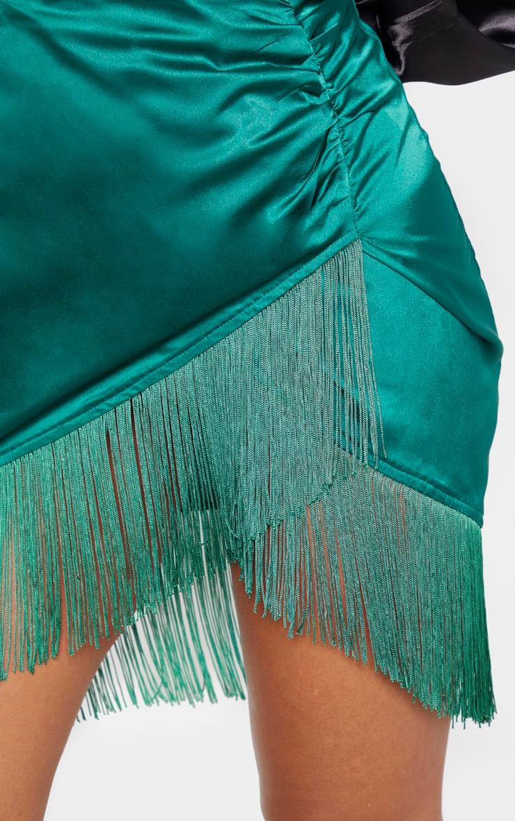 Emerald Green Satin Fringe Mini Skirt 5