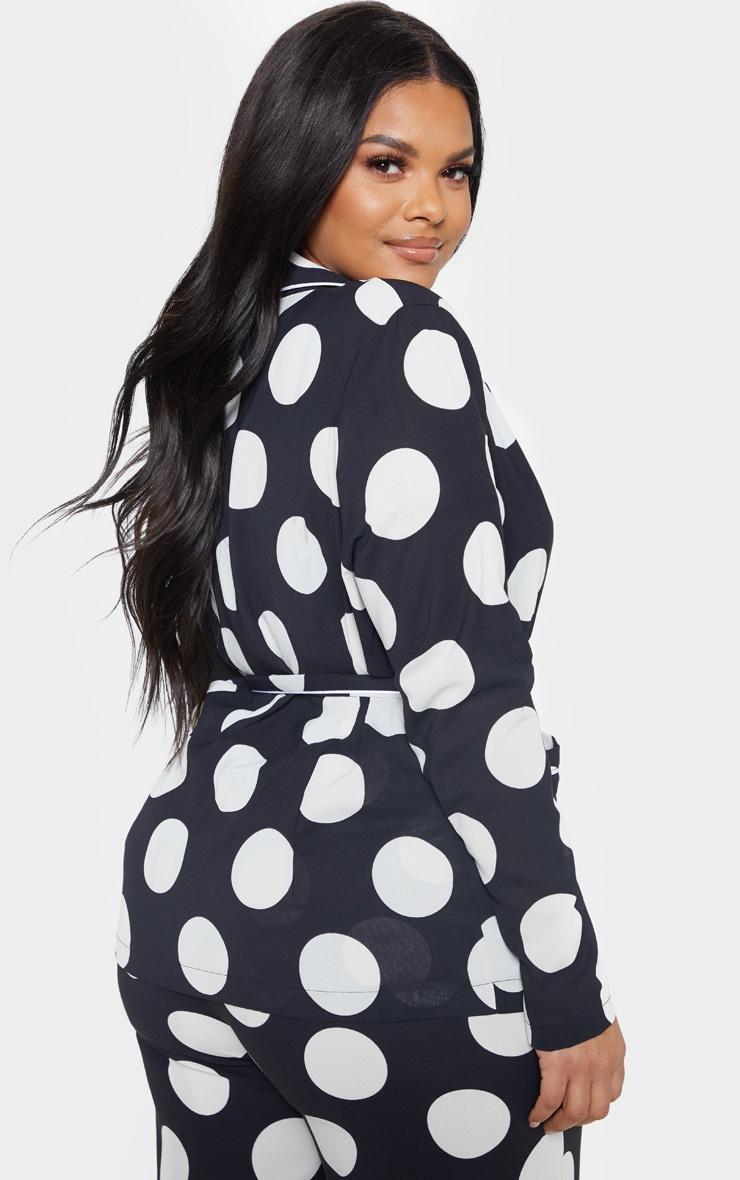 Plus Black Polka Dot Contrast Detail Blazer 2