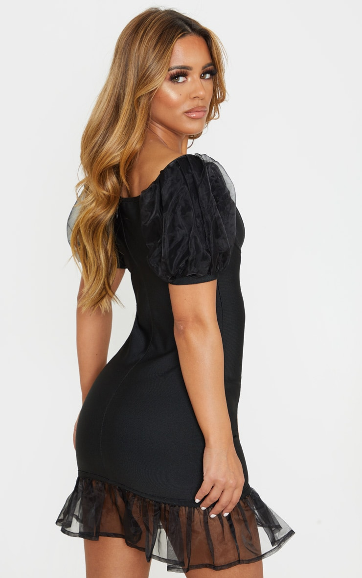 Petite Black Bandage Chiffon Frill Puff Sleeve Bodycon Dress  2