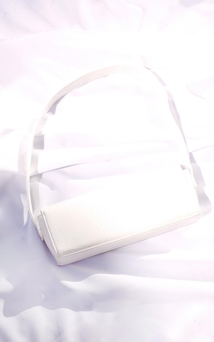 White Croc Rectangle Baguette Bag 3