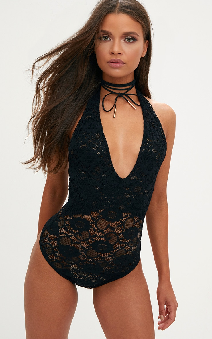 Black Sheer All Over Lace Halterneck Body 1
