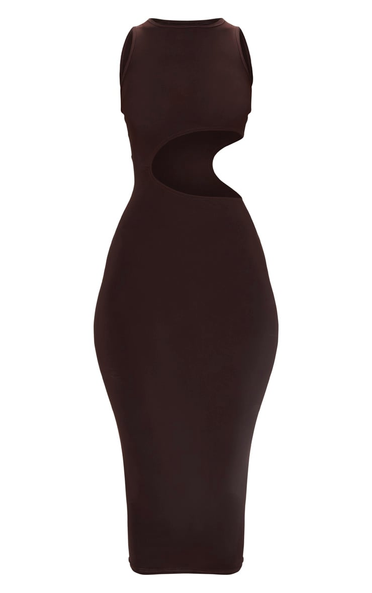 Brown Cut Out Detail Midaxi Dress 3