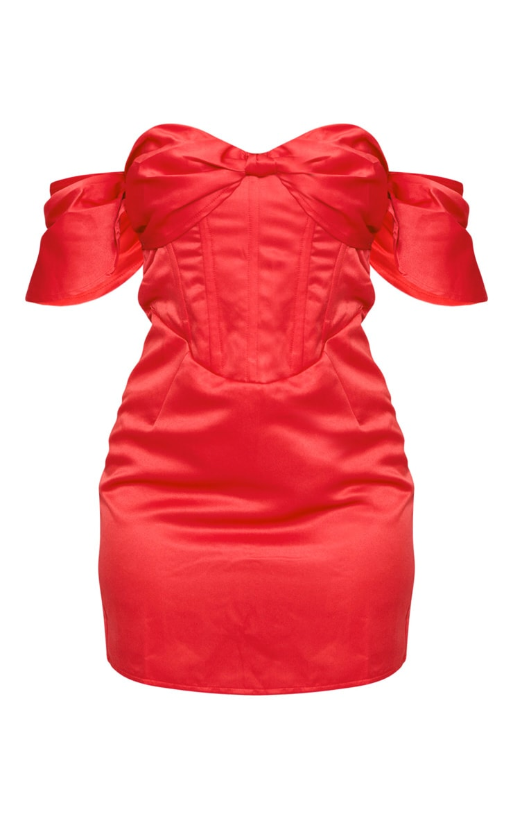 Petite Red Satin Bardot Corset Bodycon Dress 5