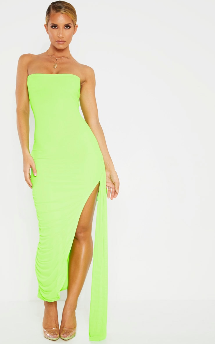 Neon Lime Mesh Bandeau Drape Detail Split Midi Dress