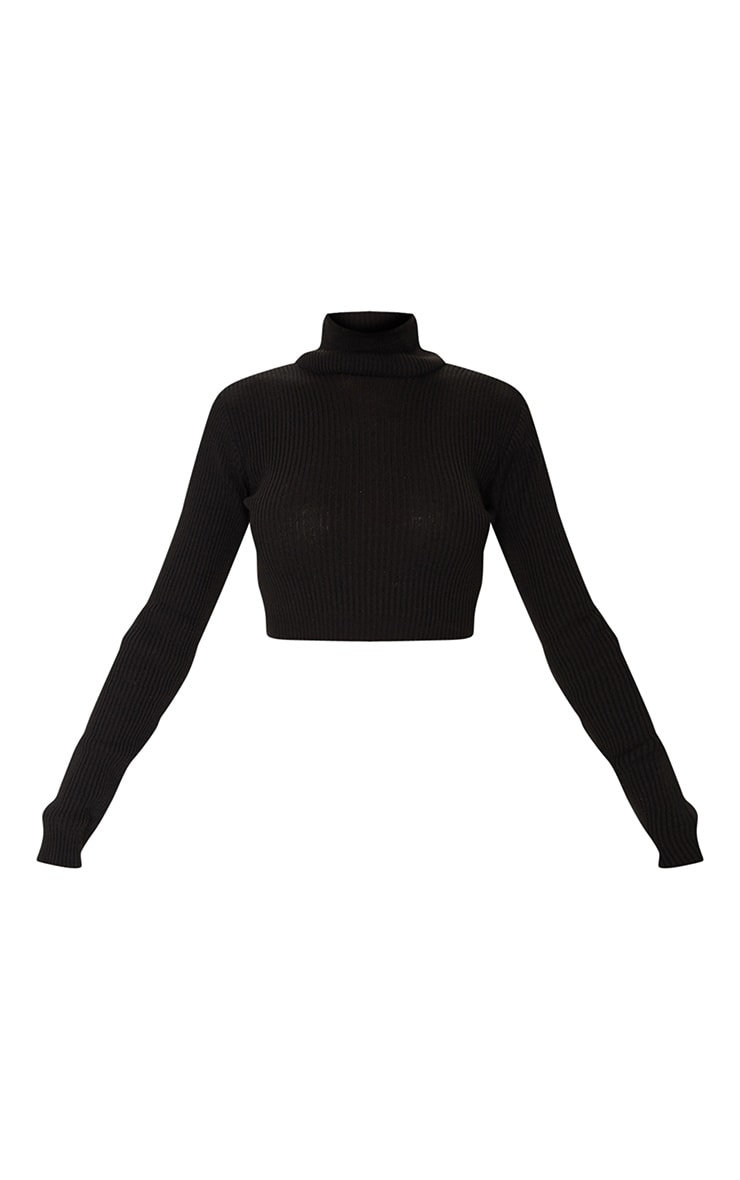 Black Basic Ribbed Knitted Roll Neck Jumper 5