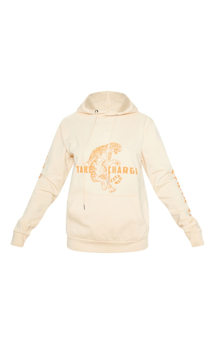 Sand Take Control Slogan Oversized Hoodie 3