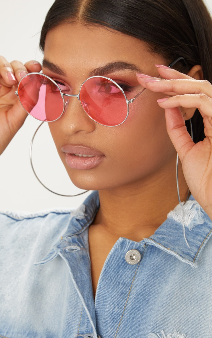 Silver Pink Lens 90's Round Metal Sunglasses 1