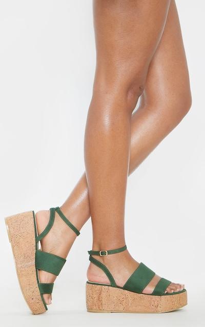 Khaki Twin Strap Cork Flatform Sandal