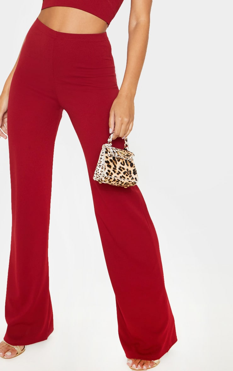 Scarlet Red Crepe High Waisted Wide Leg Trouser 5