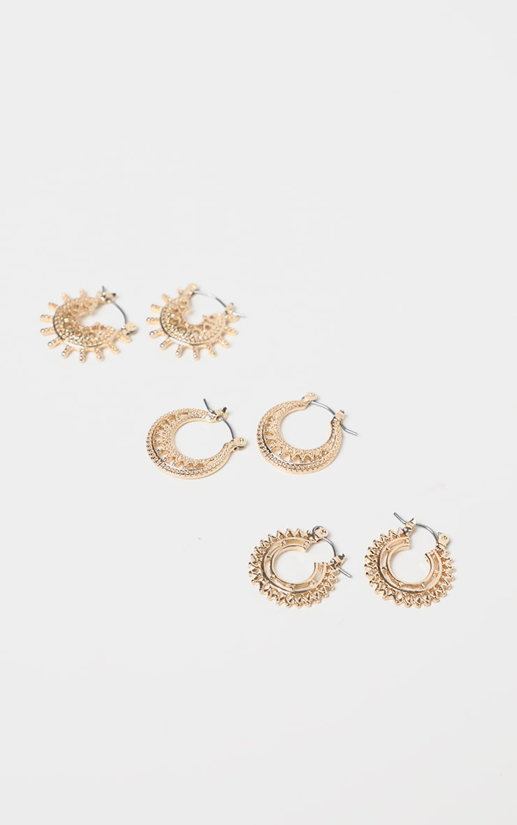 Gold Multi Pack Bevelled Edged Small Hoops 1